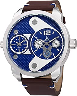 Joshua & Sons Men's Analogue Display Round Quartz Watch with Leather Strap