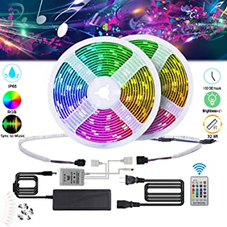 TDRFORCE Music Changing Led Lights,32.8ft/10m RGB Color Changing Led Rope Lights, SMD 5050 Waterproof Music String Lighting Kit with 24-Key IR Remote Controller for Home Bar Decor