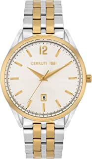 Cerruti 1881 Agriano Men Analogue Watch With Silver Dial And Silver And Gold Plated Stainless Steel Bracelet - CRA25403