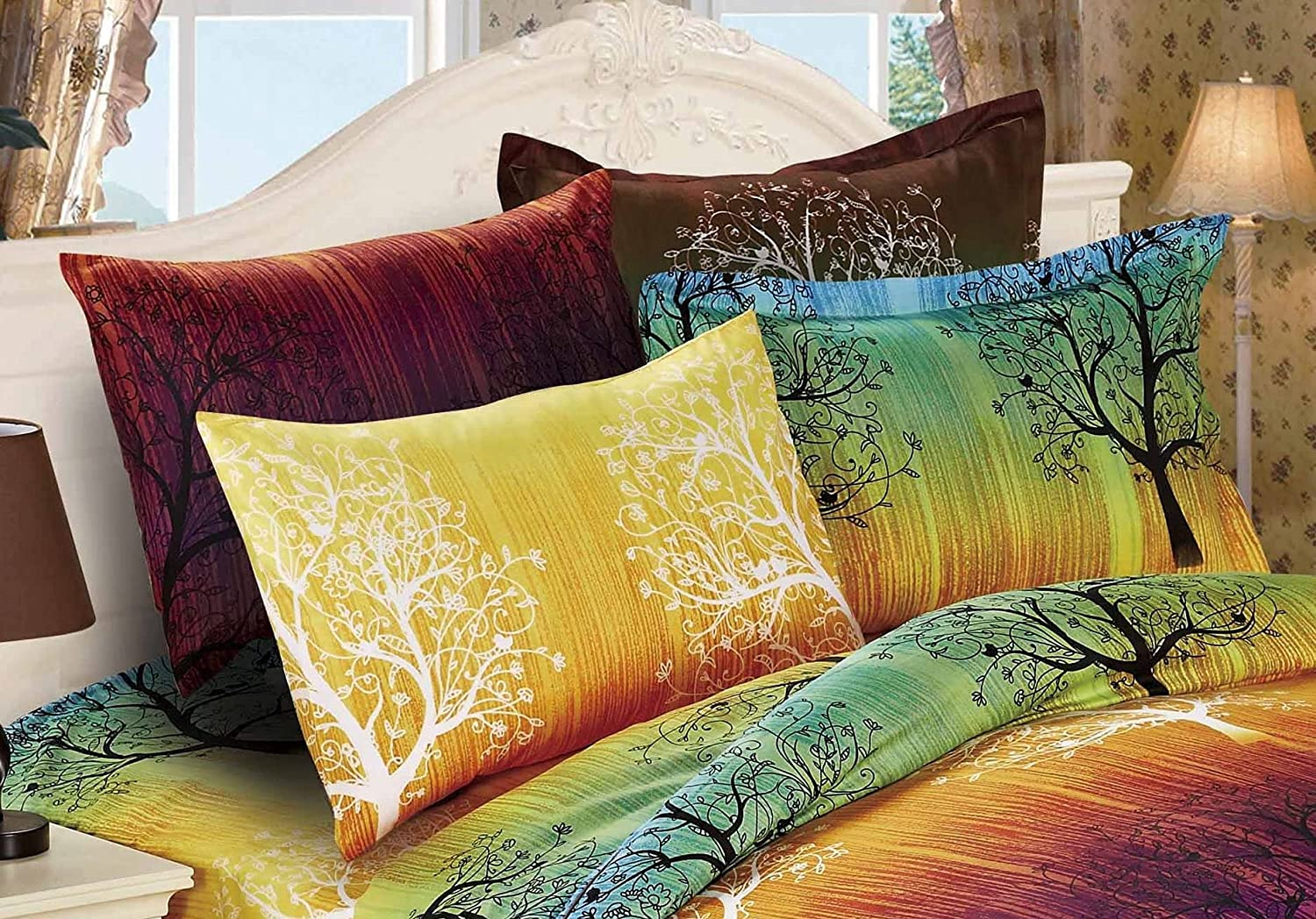A Pair of Bargain sale Rainbow Topics on TV Tree Pillow Queen Shams Blue