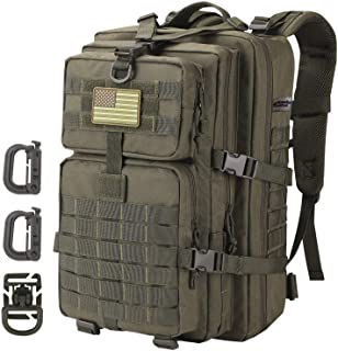 Hannibal Tactical 36L MOLLE Assault Pack, Tactical Backpack Military Army Rucksack, 3Day Pack USA Flag Patch, D-Rings