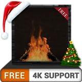 キャンプファイヤーの煙突と無料の暖炉-冬休みに自分を温め、HDR 4K 8Kテレビでクリスマスをお楽しみください。