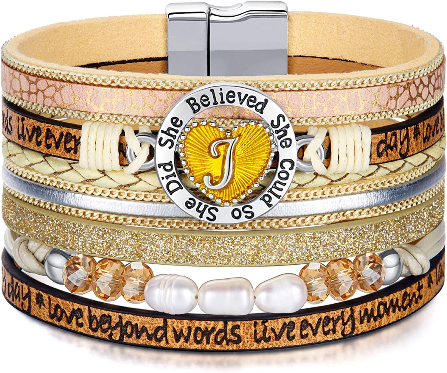Inspirational Gifts Bracelets Classic for Initial Women Leather Seasonal Wrap Introduction Engraved