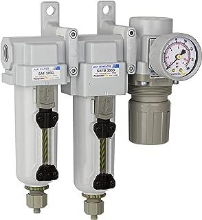 PneumaticPlus SAU330-N03G-MEP Three Stage Air Drying System Particulate Air Filter, Coalescing Filter, Air Pressure Regulator Combo 3/8