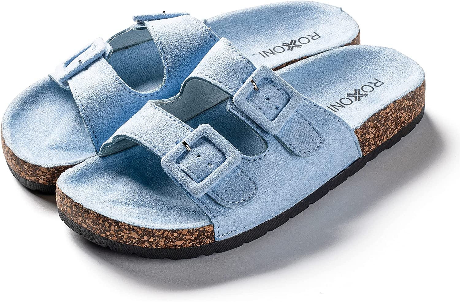 Roxoni Women Comfort Sandals Double Buckle Adjustable EVA Flat Slides Footbed Suede with Arch Support Non-Slip
