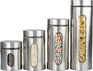 Home Basics CS44445 4 Piece Stainless Steel Canister Set...