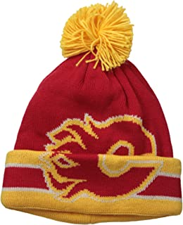 NHL Calgary Flames Men`s CCM Cuffed Pom Knit Cap, One Size, Red