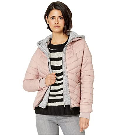 YMI Snobbish Puffer Jacket with Marled Sweatshirt Hood (Mauve) Women