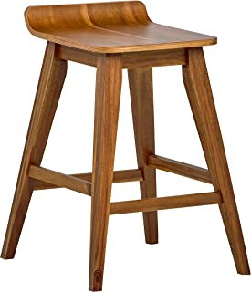 Stone & Beam Fremont Rustic Kitchen Counter Saddle Farmhouse Bar Stool, 25.5 Inch Height, Natural Wood
