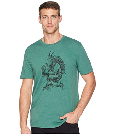 Life is Good Hiking Goat Crusher T-Shirt (Heather Forest Green) Men