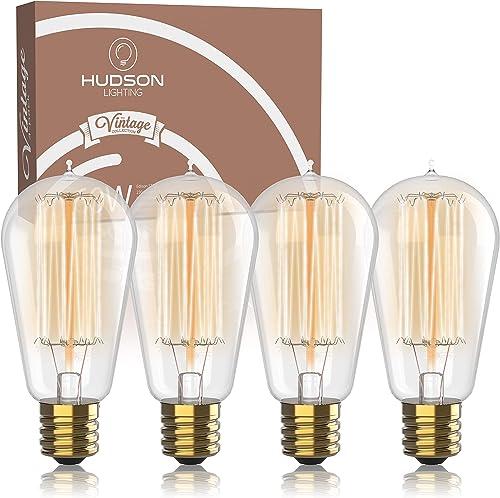 Vintage Incandescent Edison Bulb Set: 60 Watt, 2100K Warm White Edison Light Bulbs - E26 Base - 230 Lumens - Clear Gl...