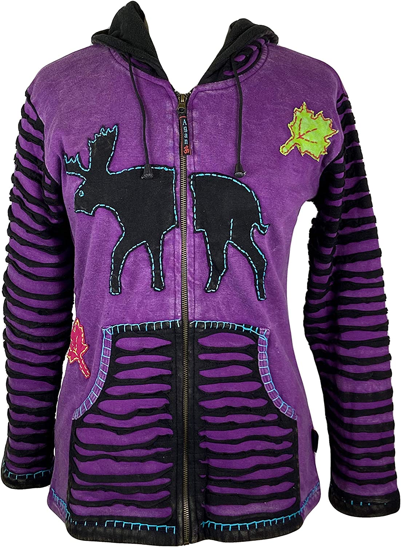 Agan Traders Women's Rib Knit Cotton Reindeer Bohemian Warm Fleece Hoodie Outdoor Jackets