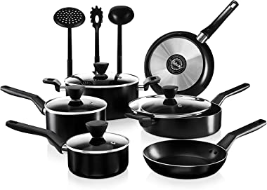 NutriChef 13-Piece Nonstick Cookware PTFE/PFOA/PFOS Free Heat Resistant Kitchen Ware Set w/Saucepan, Frying Pans, Cooking Pot