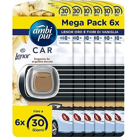 Ambi Pur Auto Lufterfrischer Einweg Lufterfrischer Beseitigt Gerüche Lenor Gold Vanille Mega Pack 6 X 2 Ml Drogerie Körperpflege