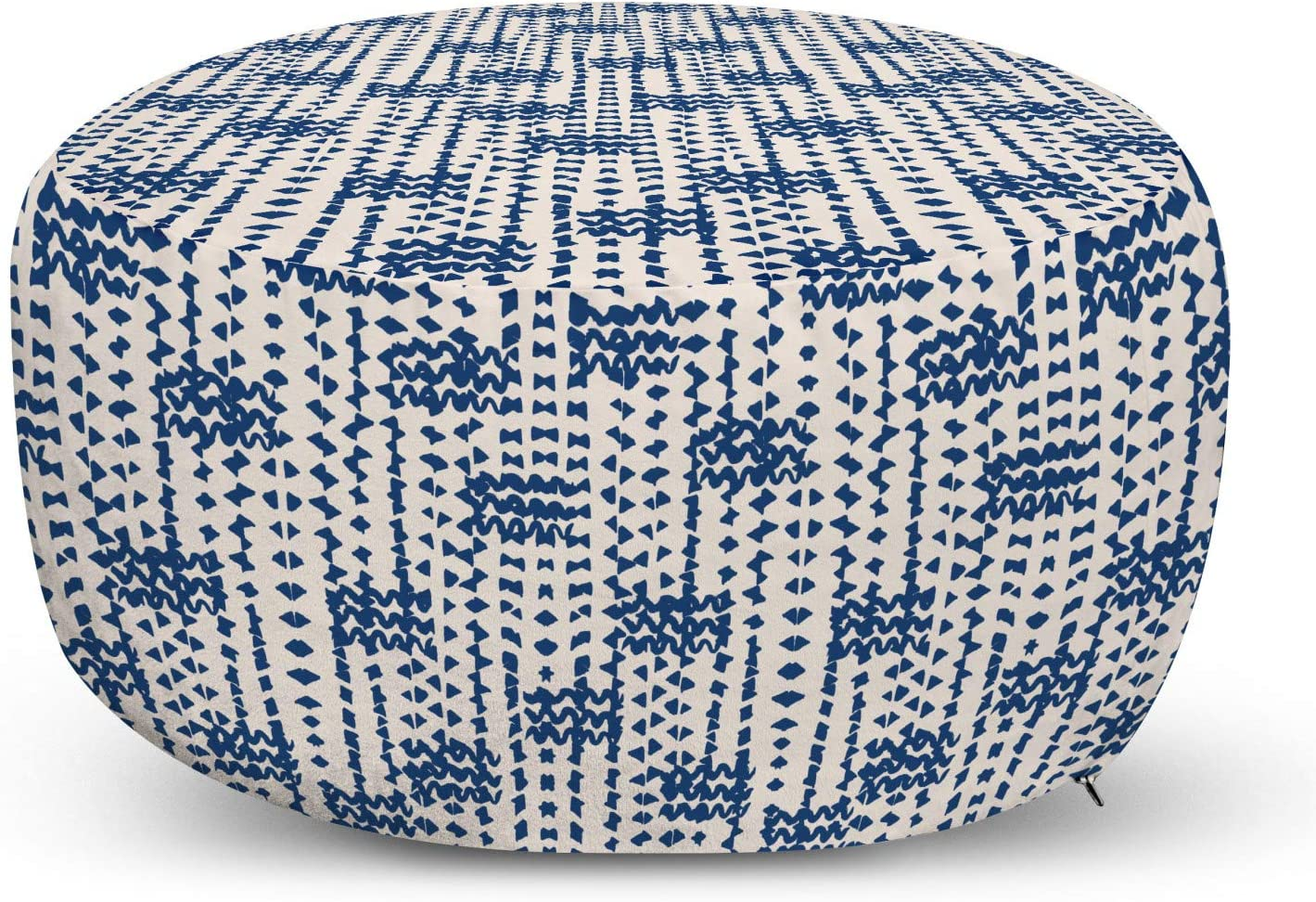 Ambesonne Ethnic Pouf Cover with Zipper Waves NEW Outlet sale feature before selling ☆ T Messy Small and