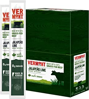 Vermont Smoke & Cure - Grass Fed Beef Jerky Sticks - Antibiotic Free - Gluten Free - No Added Hormones - 80 Calorie Snack - Paleo & Keto Friendly - Jalapeno Lime - 1oz Stick - Pack of 24