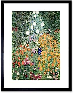 Wee Blue Coo Gustav Klimt konsttryck, inramad, motiv blomträdgård 1907