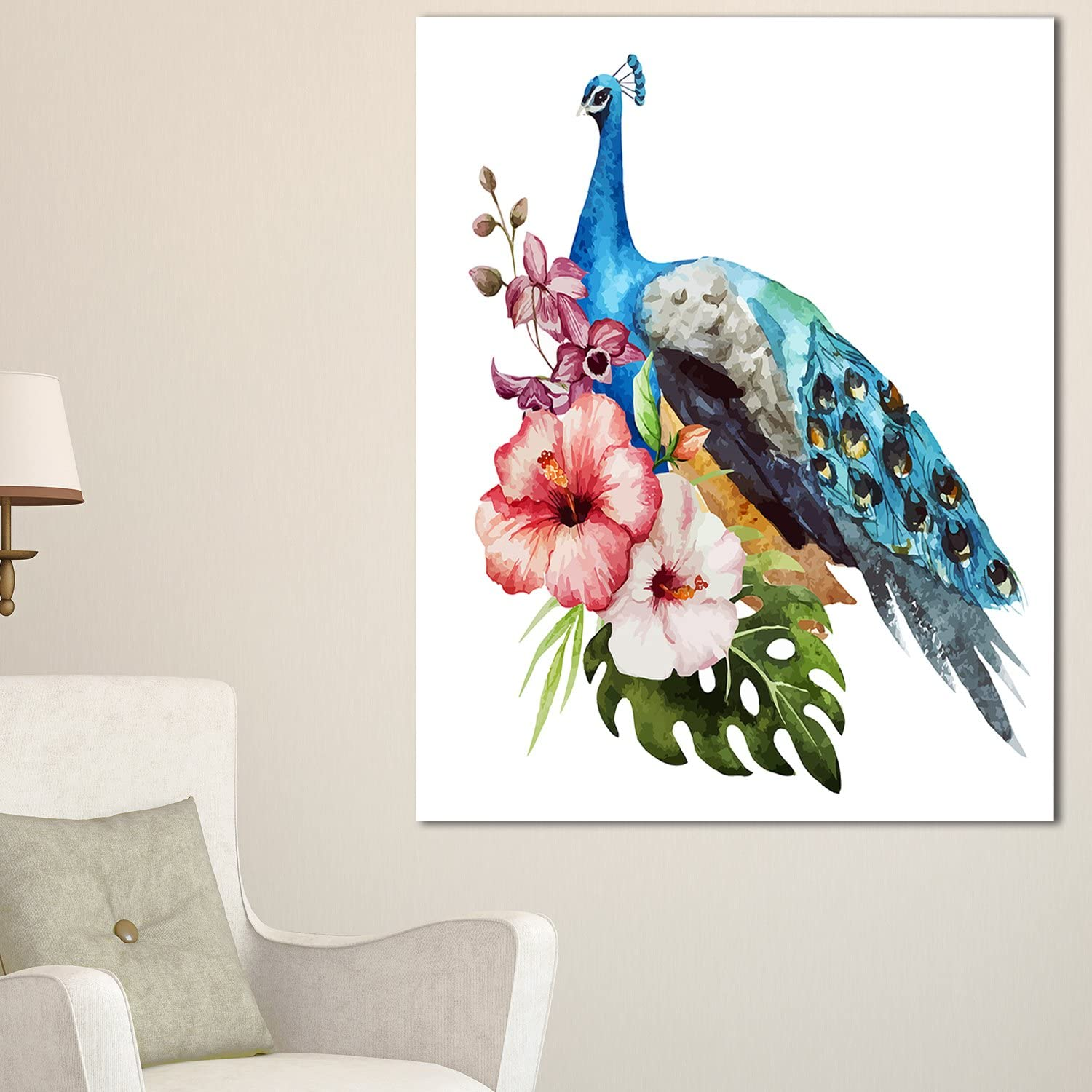 Designart PT11800-30-40 Hibiscus Blue Peacock safety Al sold out. Flower Large Canva