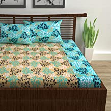 Divine Casa 100% Cotton Geometric 144 TC Double Bedsheet with 2 Pillow Covers - Green