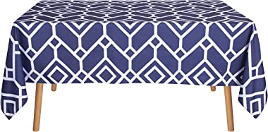 LUSHVIDA Moroccan Rectangle Table Cloth – Washable Water Resistance Microfiber Moroccan Tablecloth Decorative Table Cover for