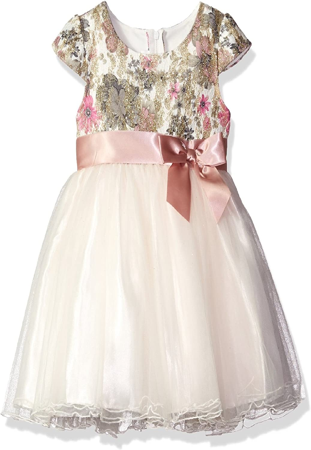 Bonnie Jean Girls Bonded Lace Flower Fall Holiday Dress, Ivory, 7-16