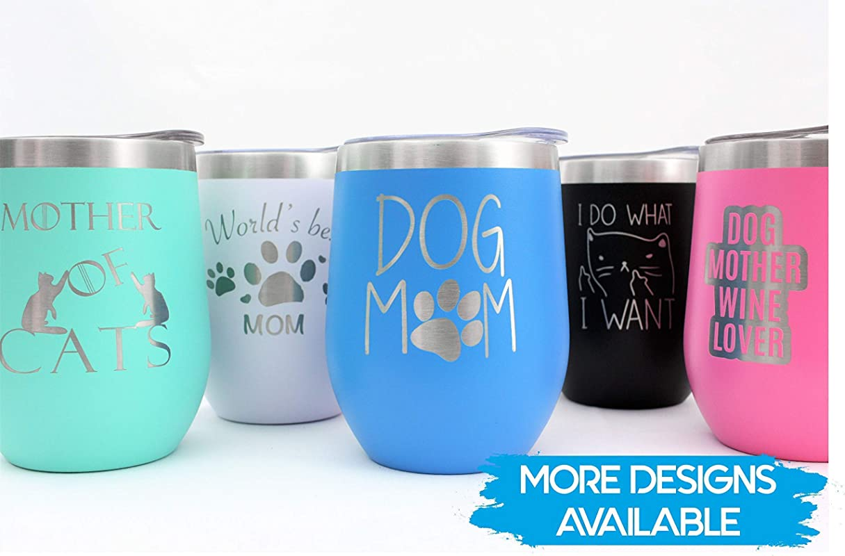 Cat And Dog Collection Vacuum Insulated Wine Tumbler With Lid CRU Cup