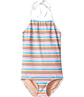 Toobydoo - One-Piece Pink Aqua Stripe Swimsuit (Infant/Toddler/Little Kids/Big Kids)