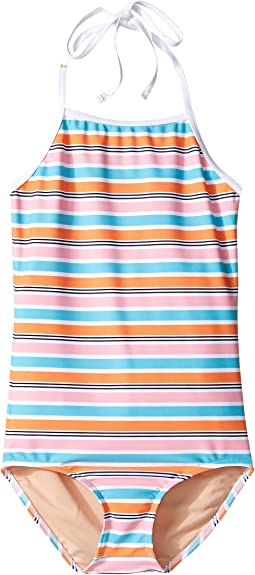 One-Piece Pink Aqua Stripe Swimsuit (Infant/Toddler/Little Kids/Big Kids)