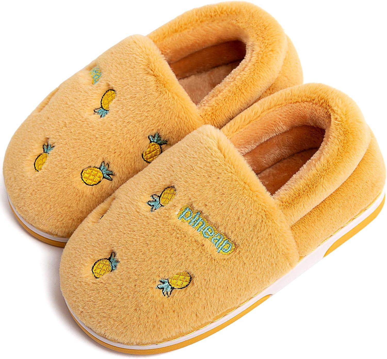 Boys Girls Fluffy Slippers Cute Fruit Pattern House Home Slippers Warm Fleece Plush Slip On for Kids,Anti-Slip Sole