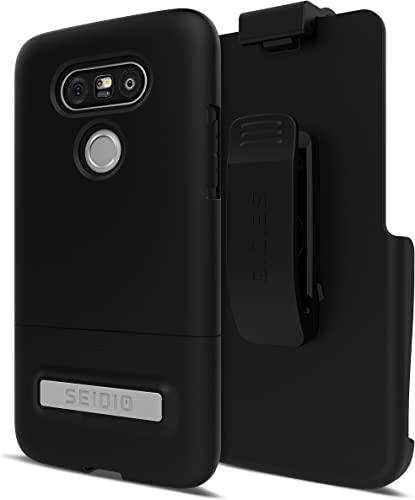 popular Seidio outlet online sale Surface Cell Phone Case with Kickstand and Holster outlet sale for LG G5 - Retail Packaging - Black/Black outlet sale