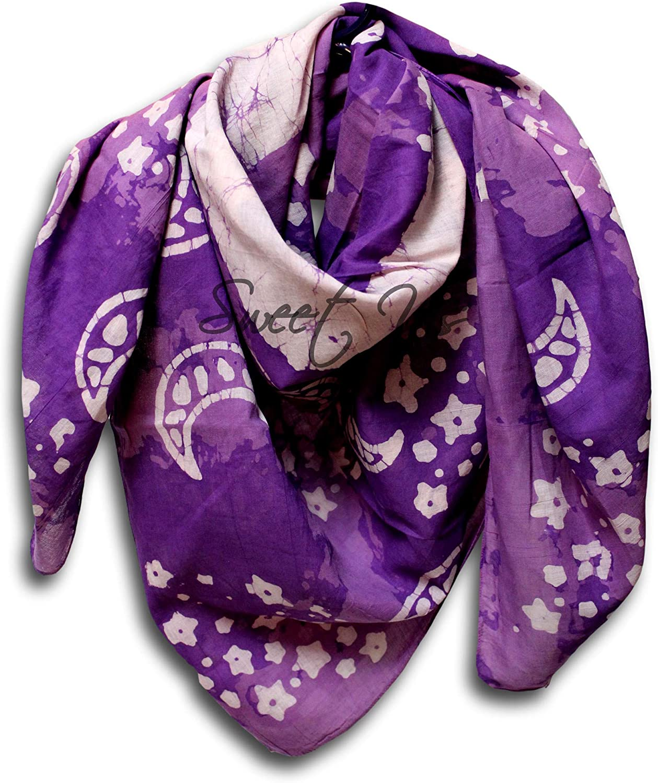 Large Cotton Scarfs for Women Lightweight Soft Sheer Neck Scarf, Head Scarf, Block Print Batik Summer Floral Scarf Bandanas for Women Fashion Scarf Stole Wrap (Purple, 42 x 42 inches)