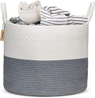 "COSYLAND Extra Large Woven Storage Basket 17""x 17""x15"" Cotton Rope.."