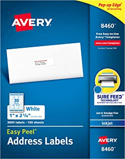"Avery Address Labels with Sure Feed for Inkjet Printers, 1"" x 2-5/8"", 3,000 Labels, Permanent Adhesive (8460), White"