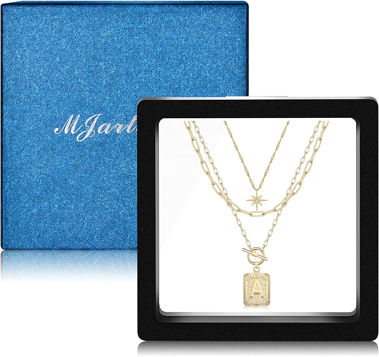 MJartoria Layered Gold Initial Square Letter Pendant Necklaces for Women 24K Gold Plated Dainty Paperclip Chain Toggle Clasp A-Z Letter North Star Layering Choker Necklaces Jewelry Gifts for Girls