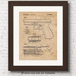 Original Glock Gun Patent Poster Prints, Set of 1 (11x14) Unframed Photo, Wall Art Decor Gifts Under 15 for Home, Office, Studio, Garage, College Student, Teacher, Cowboys, Action Movies & NRA Fan
