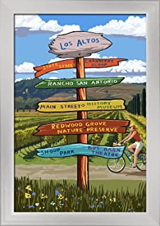 Cranberry Scoop, Los Altos, California - Destination Signpost (12x18 Giclee Art Print, Gallery Framed, Silver Wood)
