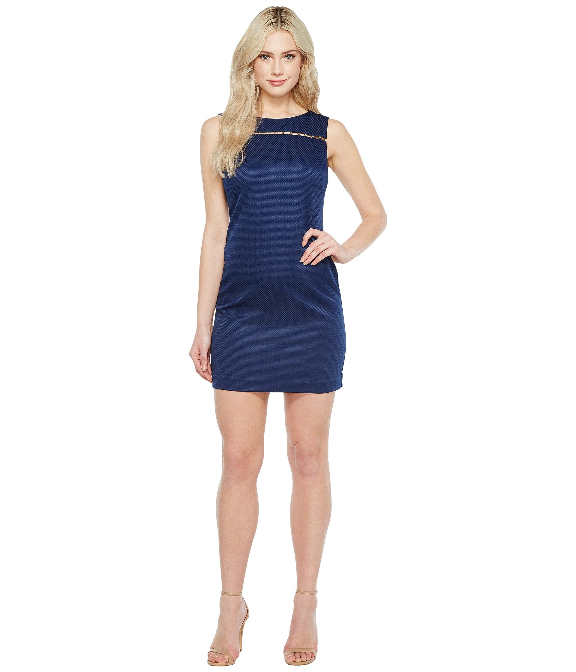 Solid Pique Dress with Hardware Detail