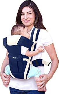 LuvLap Elegant Baby Carrier with 4 carry positions, for 4 to 24 months baby, Max weight Up to 15 Kgs (Dark Blue)