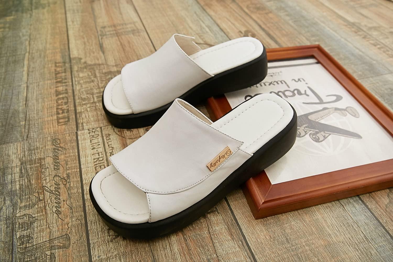 AJUNR Seali Da Donna tuttia Moda Calzature svago pantofole spessa pan di spagna con il bianco 3cm piste con 37