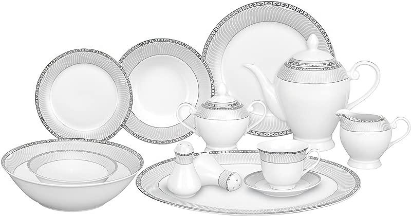 Lorren Home Trends 57 Piece Porcelain Dinnerware Set Alina SL Service For 8