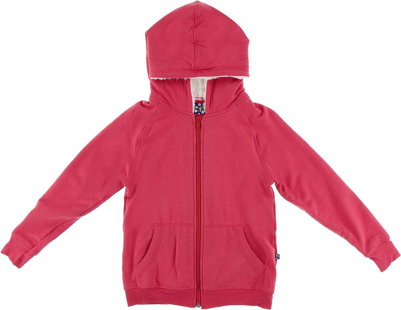 KicKee Pants Solid Fleece Zip-Front Hoodie with Sherpa-Lined Hood