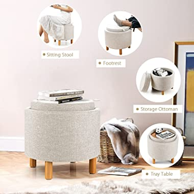 Giantex Round Storage Ottoman with Tray, Accent Storage Footstool w/ Soft Padding, Fabric Sitting Stool w/ Solid Wood Legs &a