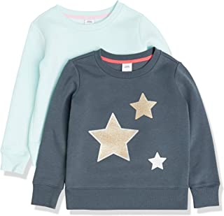 Amazon Essentials Paquete de 2 Sudadera con Cuello Redondo para Niña Playwear-Dresses Niñas