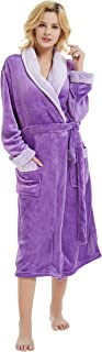 M&M Mymoon Womens Fleece Robes, Soft Plush Long Bathrobe, Thick Kimono Robes for Womens, Warm House Coat