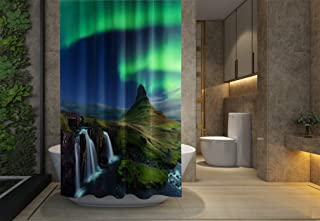 Asdecmoly No Chemical Odor Shower Curtain, Hooks Resistant Waterproof Bathroom Shower Curtains 66X72 inches The Northern Light The Mountain Iceland View Cascade Waterfall in Winter Green Bands