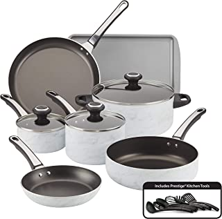 Farberware 22258 Designs Nonstick Cookware Pots and Pans Set, 16 Piece, White Marble