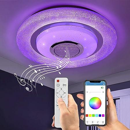 Wayrank Plafonnier Led RGB avec Haut-parleur Bluetooth, 36W Lustre LED Dimmable avec Télécommande et Contrôle APP, Eclairage de Plafond Moderne pour Chambre