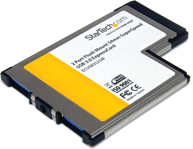 StarTech.com 2 Port Flush Mount ExpressCard 54mm SuperSpeed USB 3.0 Card Adapter with UASP - Dual Port Laptop ExpressCard USB 3 Controller (ECUSB3S254F)