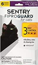 SENTRY Fiproguard for Cats, Flea and Tick Prevention for Cats (1.5 Pounds and Over), Includes 6 Month Supply of Topical Flea Treatments