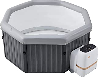 MSPAUK Tuscany Latest 2021 Mspa Portable Hot Tub Round Square 2/4/6 Persons Outdoor Bubble Spa Pool Jacuzzi Inflation Smart Filtration, UVC Sanitization Technology, 36 Degree Quick Heating, 6